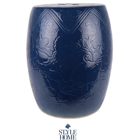 'Embossed Navy' Hand-painted Ceramic Stool