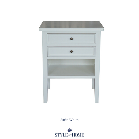 hamptons bedside shelf drawers white