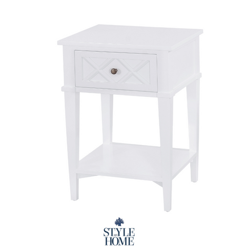 'Ascot' Luxury White Bedside Small