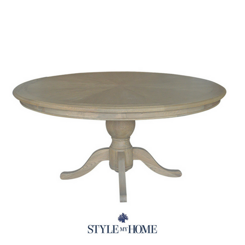 CHLOE weathered oak Coastal Pedestal 6 Seat Table by Style My Home Australia Sydney Hamptons Country Coastal