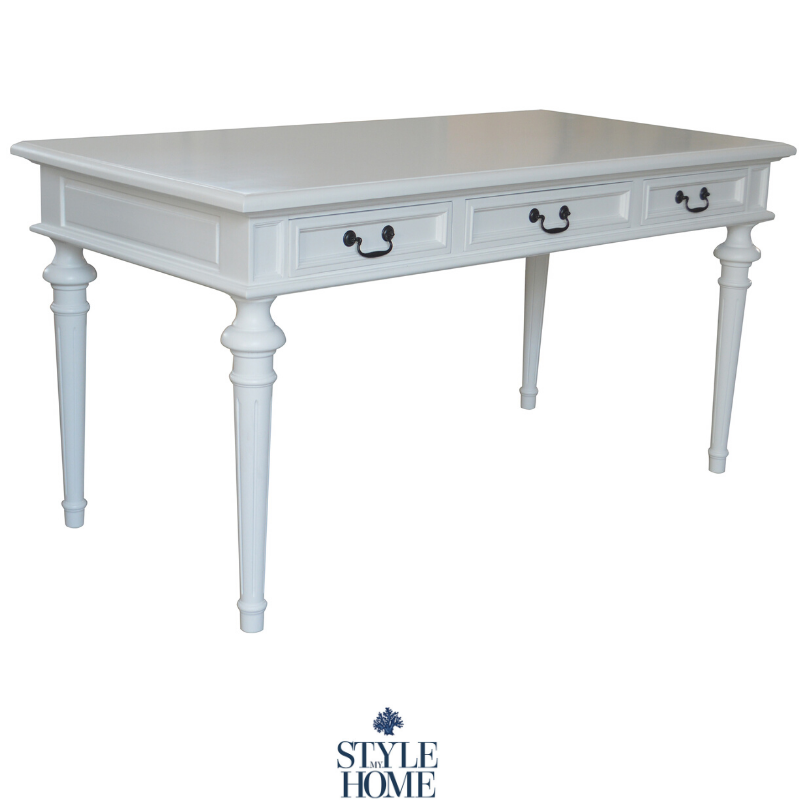 The Balmoral is a three drawer white oak desk with pull drop handles. Classic styled desk by Style My Home Australia