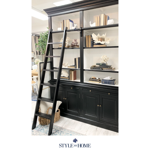 'Hamptons' Large Three Bay Cabinet with Ladder in SATIN BLACK