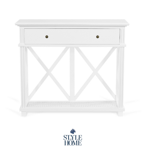 'PALM COVE' Petite Console with Painted White Rattan Base Shelf