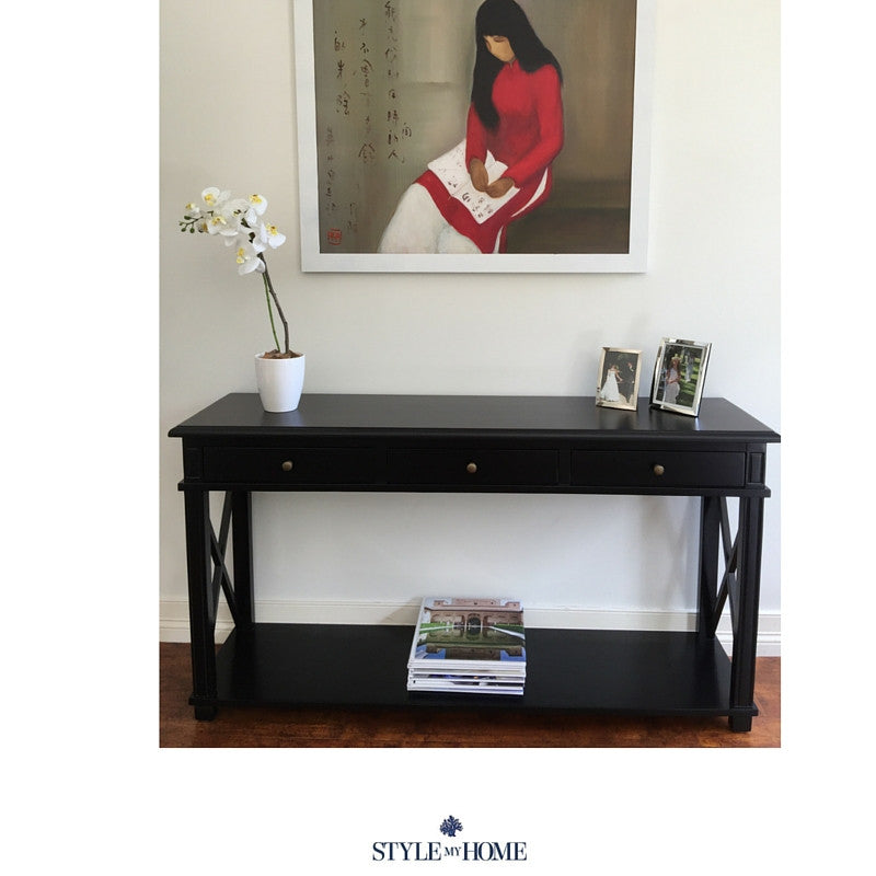 South Beach 3 Drawer Cross Leg Console Style My Home