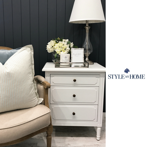 SALE - 'CLAIRE' 3 Drawer Bedside