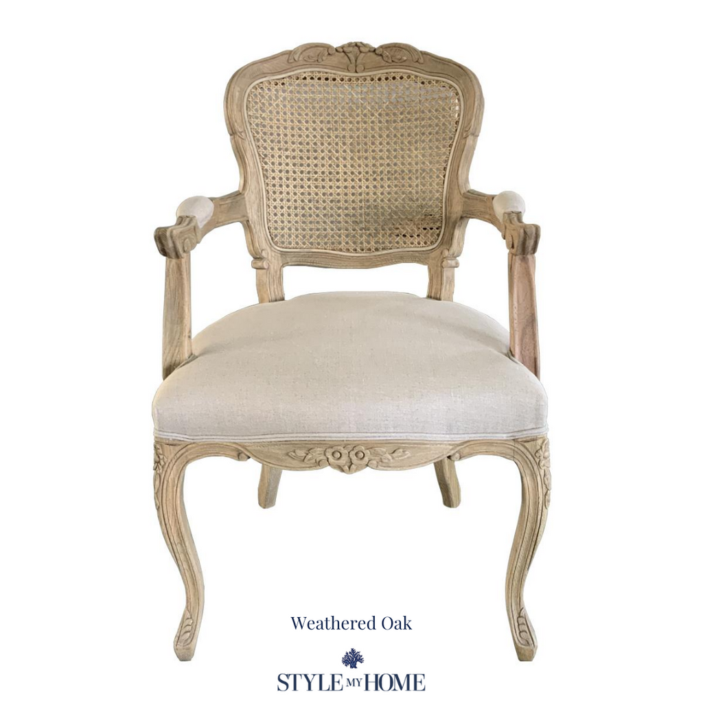 'Eloise' Deluxe French Rattan Dining Chair with arms Hamptons country provincial Style My Home
