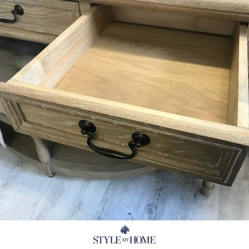 The Balmoral is a three drawer oak desk with pull drop handles. Classic styled desk by Style My Home Australia