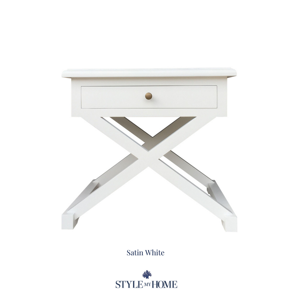 cross leg hamptons bedside table