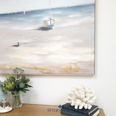 'Sandy Shores' Canvas in Natural Frame