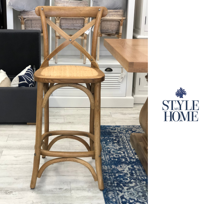 DAVID' Rattan Cross-back Kitchen Stool oak Hamptons French provincial style