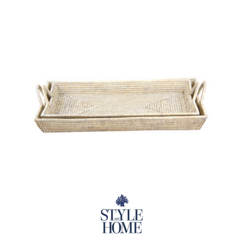White Wash Rattan Banquet Tray