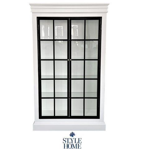 HAMPTONS SATIN WHITE GLASS CABINET WITH BLACK IRON DETAILING