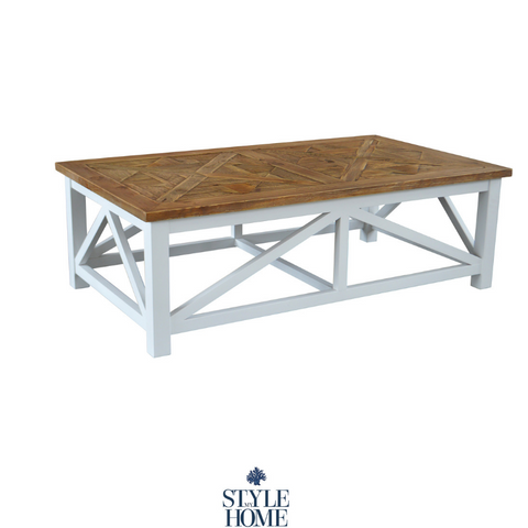 'PALM BEACH' Recycled Wood Parquet Top Coffee Table