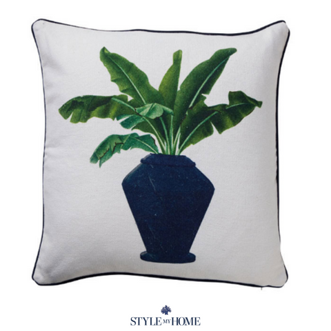 Palm in Navy Jar Cushion with Navy Piping