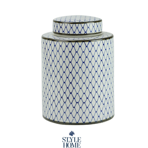 'Nikita' Blue & White Handpainted Jar