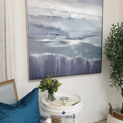 'Lavender Bay' Canvas in Antique Silver Frame