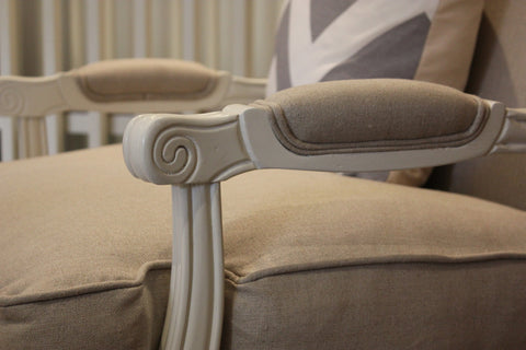 LOUIS Oak & Linen Upholstered Arm Chair by Style My Home Sydney Australia Hamptons French Country