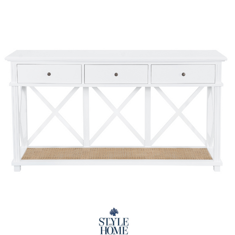 'PALM COVE' Three Drawer Console With Natural Rattan Shelf