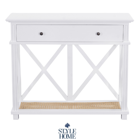 'PALM COVE' Petite Console with Rattan Base Shelf