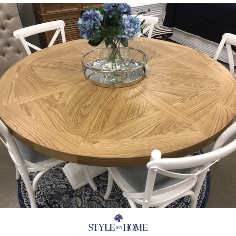 Alice Parquetry Round Table hamptons style my home Oak pedestal leg