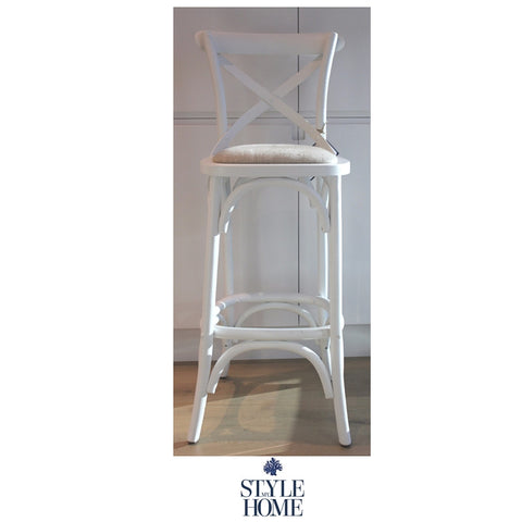 'DAVID' Padded Cross-back Kitchen Stool (65cm seat height)