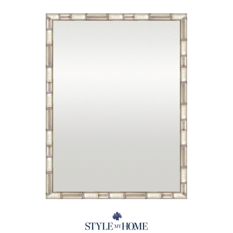 Faux Bamboo Mirror Silver