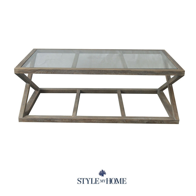JOSHUA Oak & Glass Cross Leg Coffee Table Style My Home Sydney Australia Hamptons Country Coastal
