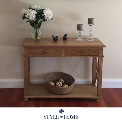 'SOUTH BEACH' Two Drawer Cross Leg Console