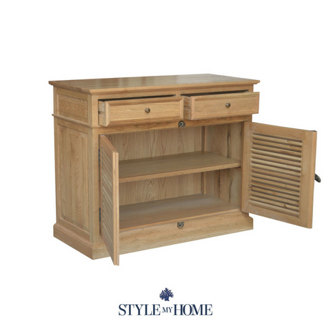 Natural oak storage sideboard with louvre doors and brass handle details
