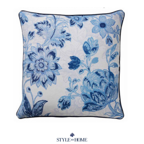 Classic Floral Cushion with Navy Piping