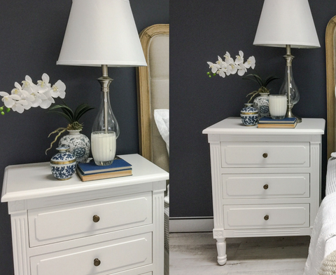 three drawer hamptons bedside table white