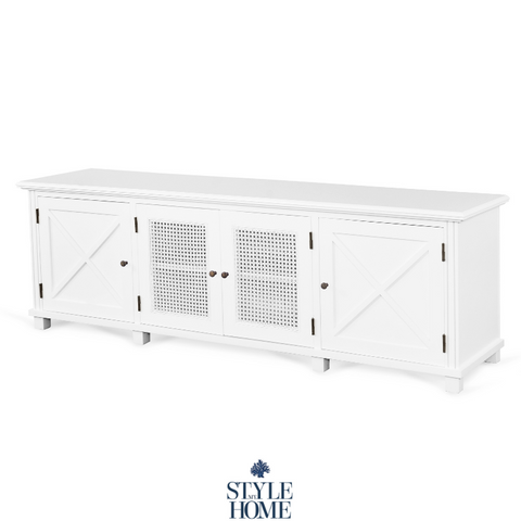 'PALM COVE' Entertainment Unit with Painted White Rattan Doors