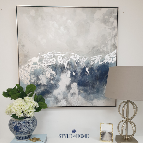 'Foamy Sky' Canvas in Antique Silver Frame