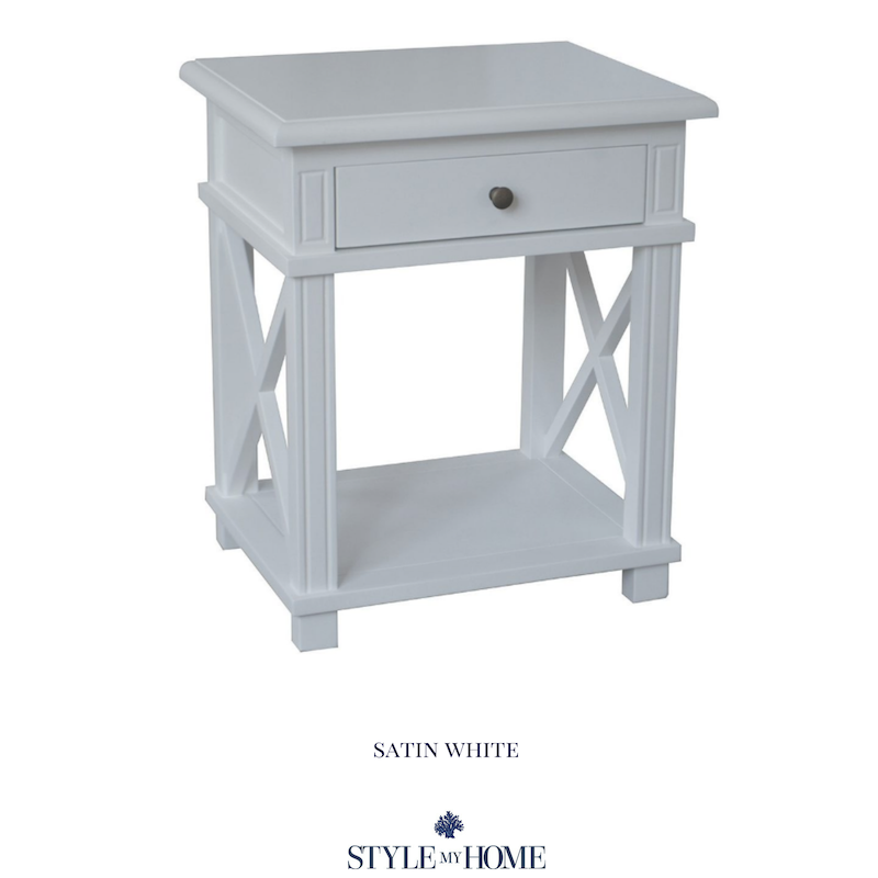 hamptons white cross leg bedside