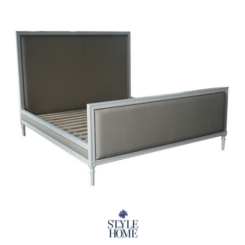 'HUGO' Upholstered Linen Bed Frame with Brass Studding