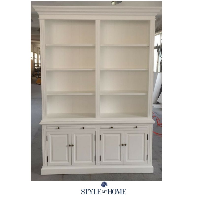HAMPTONS BOOKCASE LIBRARY SATIN WHITE