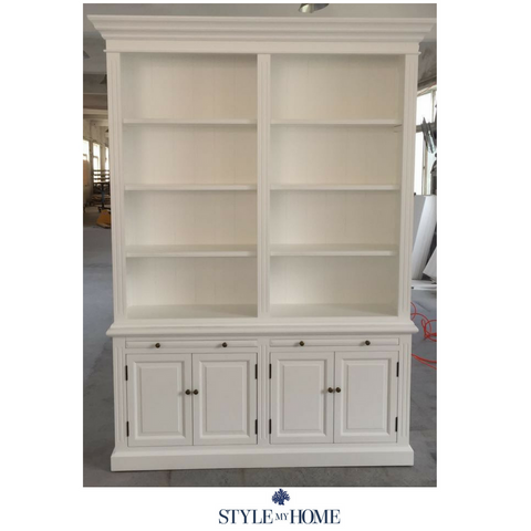 'Hamptons' Two Bay Bookcase Without ladder