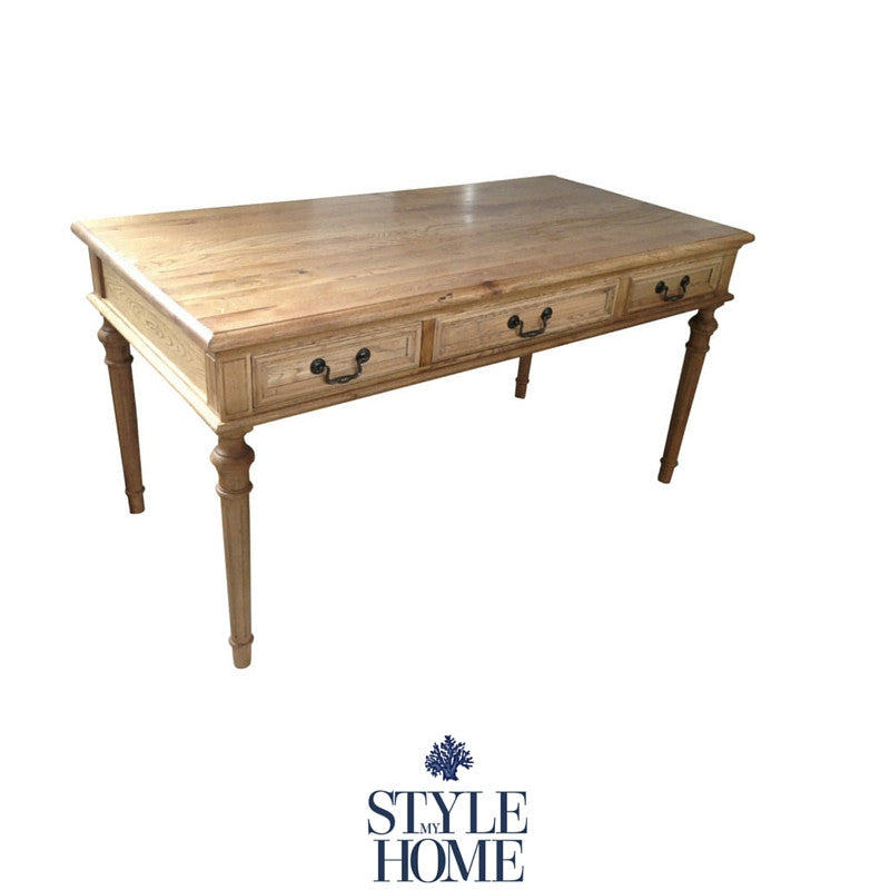 The Balmoral is a three drawer natural oak desk with pull drop handles. Classic styled desk by Style My Home Australia