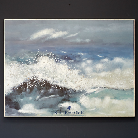 'Stormy Ocean' Canvas in Antique Silver Frame