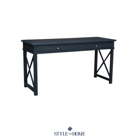 Black HAMPTONS DESK WITH classic cross legs with shaker carving. 2 DRAWERS. Style My Home Australia