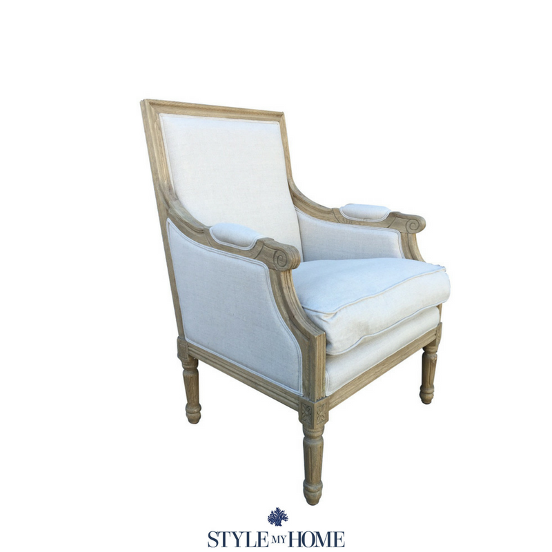 hamptons timber linen armchair
