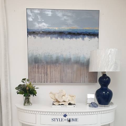 'Running Tides' Canvas in White Frame