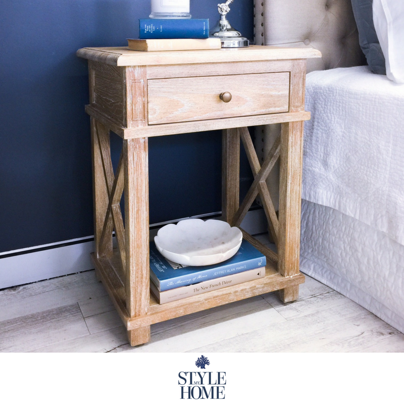hamptons oak cross leg bedside