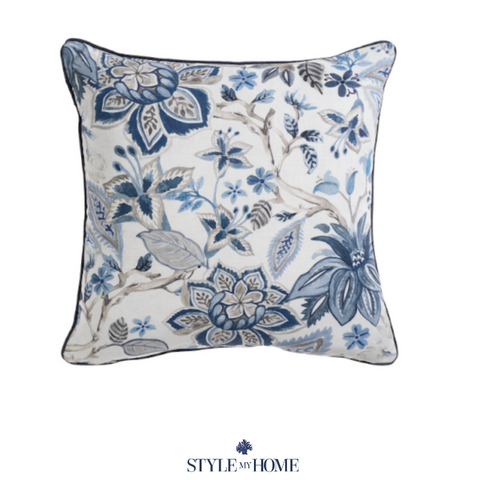 Avignon Navy Chinoiserie Cushion with Feather Insert