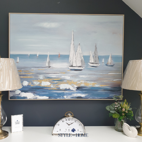 'Harbour Views' Canvas in Natural Frame