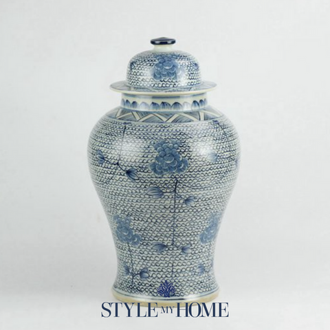 Hamptons Blue and White Ginger Jar by Style My Home Australia