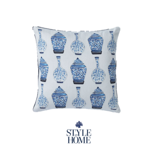 Oriental Blue & White Piped Cushion