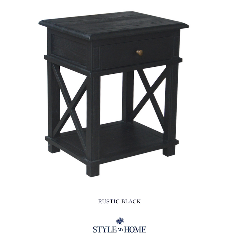 hamptons black cross leg bedside