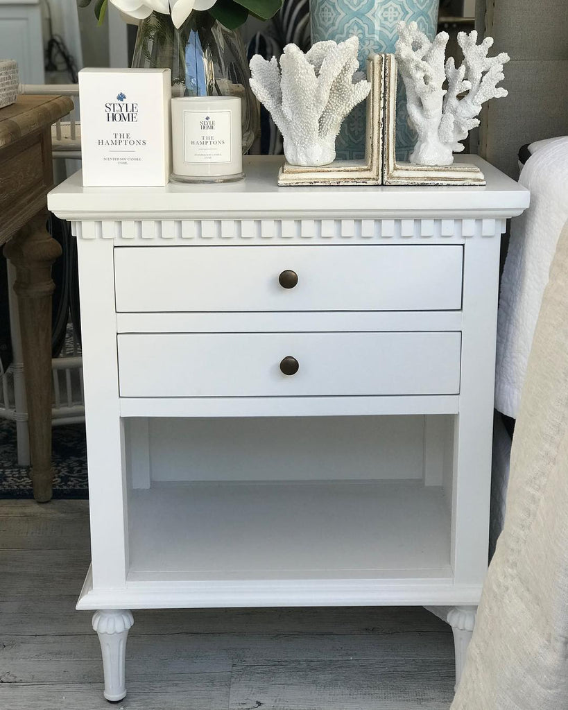 classic hamptons white bedside table