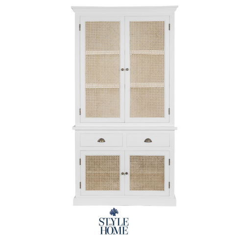 'WHITEHAVEN' Coastal Cabinet with Rattan Doors